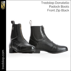 Donatello Front Zip Paddock Boots Black