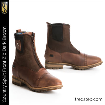 The Tredstep Spirit Front Zip Country Boots Dark Brown